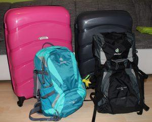Unsere Koffer und Rucksäcke
