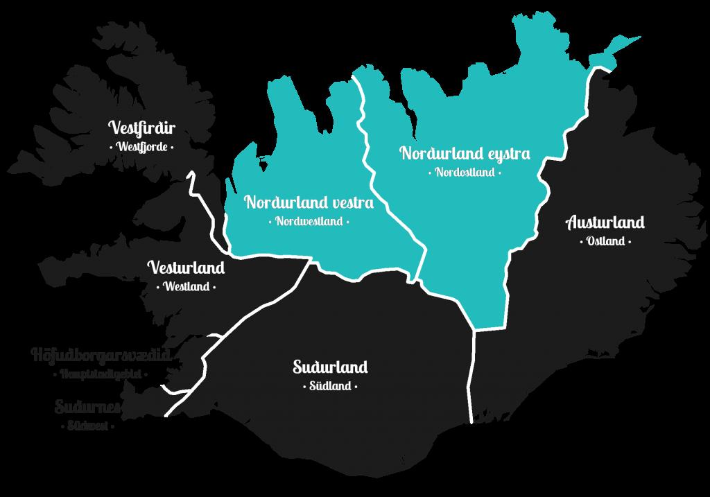 Island - Norden der Insel - Markierung - Regionen