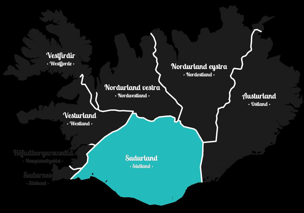 Island - Süden der Insel - Markierung - Regionen