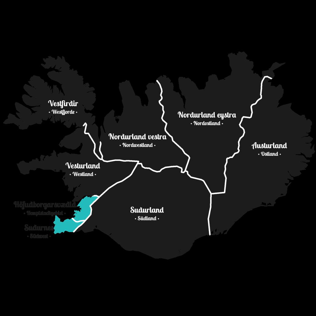 Island - Südwesten der Insel - Markierung - Regionen