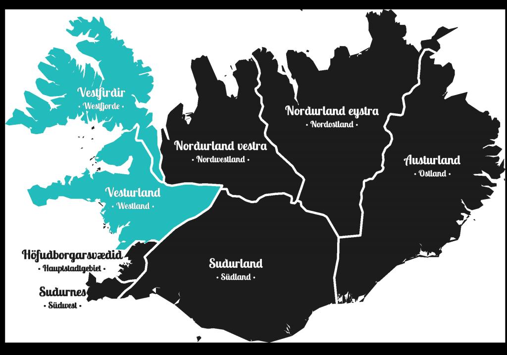 Island - Westen der Insel - Markierung - Regionen