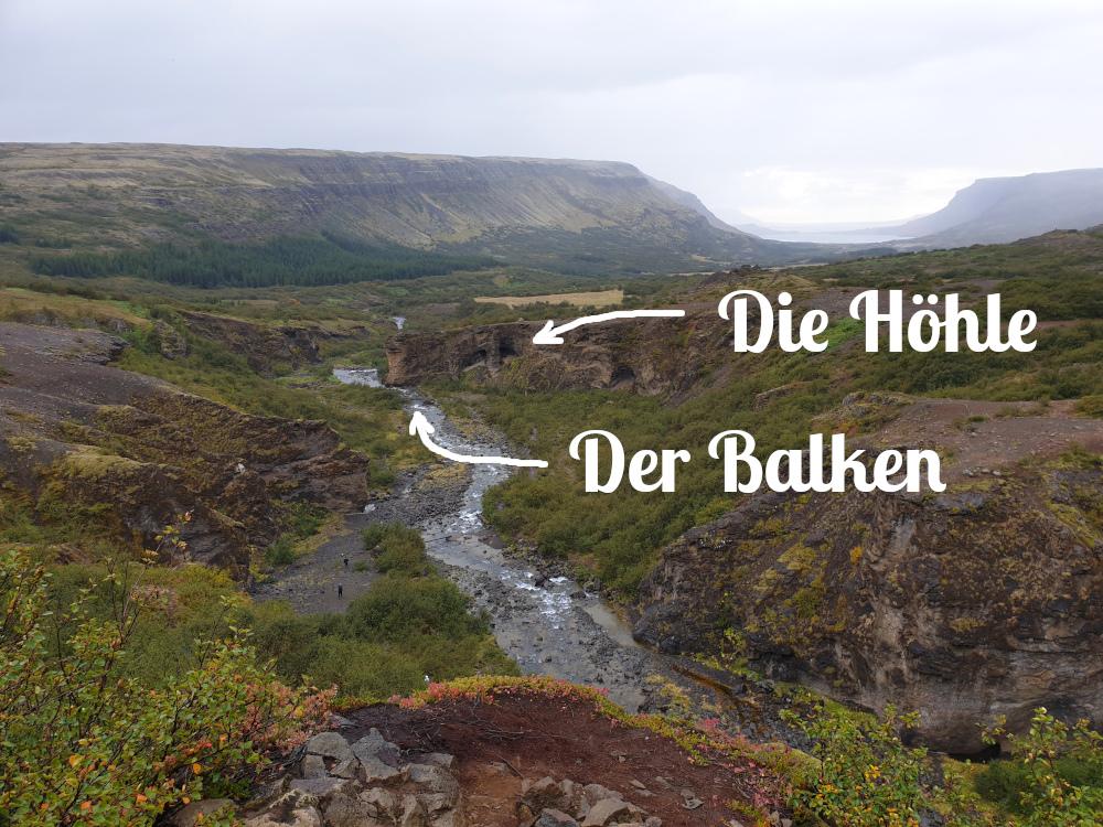 Island - Sehenswürdigkeiten Hauptstadtgebiet - Glymur Beschriftet